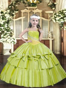 Fashion Yellow Green Little Girl Pageant Gowns Party and Quinceanera with Beading and Ruffled Layers Straps Sleeveless Lace Up