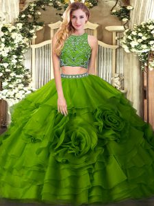 Olive Green Sleeveless Floor Length Beading and Ruffled Layers Zipper Quinceanera Dresses