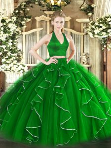 Flirting Green Halter Top Zipper Ruffles 15th Birthday Dress Sleeveless
