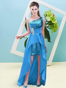 Elegant Sleeveless High Low Beading and Sequins Lace Up with Baby Blue
