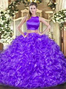 Ruffles Ball Gown Prom Dress Eggplant Purple Criss Cross Sleeveless Floor Length