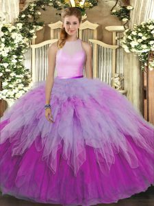 Decent Floor Length Multi-color Quinceanera Gown Organza Sleeveless Ruffles