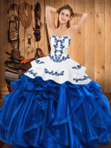Chic Blue Lace Up Strapless Embroidery and Ruffles Sweet 16 Quinceanera Dress Satin and Organza Sleeveless