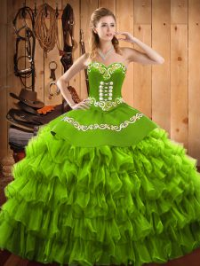 Ball Gowns Sweet 16 Dress Sweetheart Satin and Organza Sleeveless Floor Length Lace Up