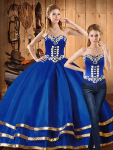 Colorful Satin and Tulle Sweetheart Sleeveless Lace Up Embroidery Quinceanera Gowns in Blue