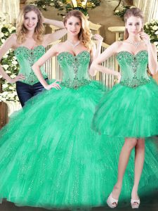 Comfortable Floor Length Green Quinceanera Dresses Sweetheart Sleeveless Lace Up