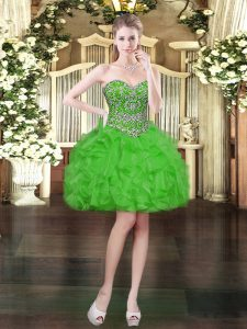 Green Lace Up Sweetheart Beading and Ruffles Prom Dresses Organza Sleeveless