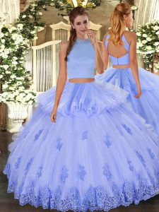 Fine Tulle Halter Top Sleeveless Backless Beading and Appliques and Ruffles Quinceanera Dress in Light Blue