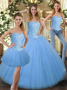 Beading Sweet 16 Dresses Baby Blue Lace Up Sleeveless Floor Length