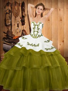 Sleeveless Sweep Train Embroidery and Ruffled Layers Lace Up Sweet 16 Dresses