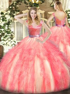 Modest Sleeveless Beading and Ruffles Zipper Quince Ball Gowns