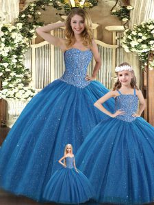 Teal Ball Gowns Tulle Sweetheart Sleeveless Beading Floor Length Lace Up Quinceanera Gown