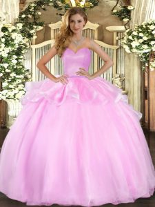 Pink Ball Gowns Sweetheart Sleeveless Organza Floor Length Lace Up Beading and Ruffles Sweet 16 Quinceanera Dress
