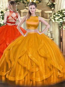 Smart Ruffles Vestidos de Quinceanera Orange Red Criss Cross Sleeveless Floor Length