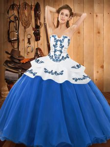 Blue Satin and Organza Lace Up Strapless Sleeveless Floor Length Quinceanera Dresses Embroidery