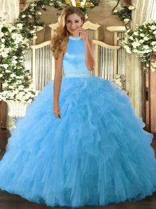 Baby Blue Sleeveless Floor Length Beading and Ruffles Backless Vestidos de Quinceanera