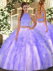 Fabulous Halter Top Sleeveless Backless 15th Birthday Dress Lavender Organza