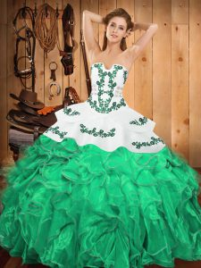 Nice Ball Gowns Sweet 16 Dress Turquoise Strapless Satin and Organza Sleeveless Floor Length Lace Up