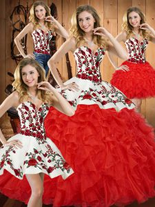 Latest Red Ball Gowns Embroidery and Ruffles Vestidos de Quinceanera Lace Up Tulle Sleeveless Floor Length