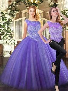 Nice Two Pieces Sweet 16 Dresses Lavender Scoop Tulle Sleeveless Floor Length Zipper