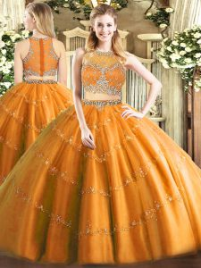 Orange Tulle Zipper Vestidos de Quinceanera Sleeveless Floor Length Beading
