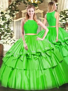 Ruffled Layers 15th Birthday Dress Green Zipper Sleeveless Floor Length