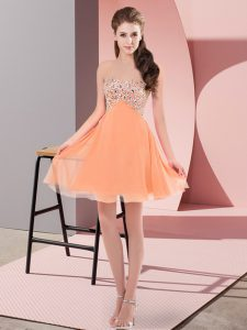 Orange Red Chiffon Lace Up Prom Dress Sleeveless Mini Length Beading