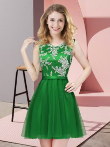Green Sleeveless Lace Mini Length Wedding Party Dress