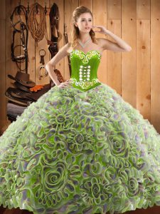 Sleeveless With Train Embroidery Lace Up 15 Quinceanera Dress with Multi-color Sweep Train