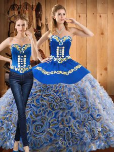 Pretty With Train Lace Up 15th Birthday Dress Multi-color for Military Ball and Sweet 16 and Quinceanera with Embroidery Sweep Train