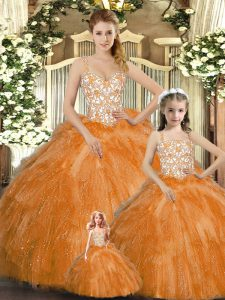 Orange Red Vestidos de Quinceanera Military Ball and Sweet 16 and Quinceanera with Beading and Ruffles Straps Sleeveless Lace Up