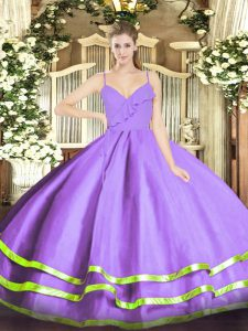 Sleeveless Organza Floor Length Zipper Quinceanera Dresses in Lavender with Ruffled Layers