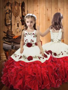 Red Sleeveless Organza Lace Up Pageant Dress Womens for Sweet 16 and Quinceanera