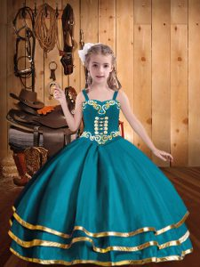 Teal Lace Up Straps Embroidery and Ruffled Layers Little Girls Pageant Gowns Organza Sleeveless