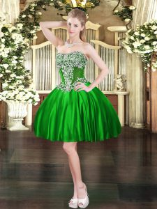 Noble Green Satin Lace Up Sweetheart Sleeveless Mini Length Prom Party Dress Beading