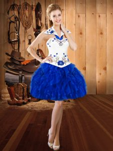 Royal Blue Sleeveless Organza Lace Up Prom Evening Gown for Prom and Party