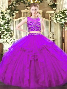 Purple Two Pieces Scoop Sleeveless Tulle Floor Length Zipper Beading and Ruffles 15th Birthday Dress