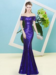 Short Sleeves Floor Length Sequins Zipper Prom Party Dress with Purple