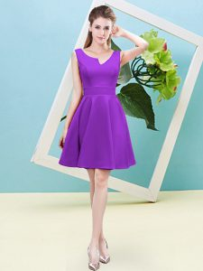 Dynamic Sleeveless Satin Mini Length Zipper Court Dresses for Sweet 16 in Eggplant Purple with Ruching