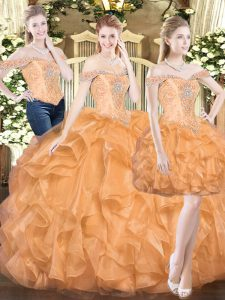 Super Orange Red Sleeveless Organza Lace Up Sweet 16 Dresses for Military Ball and Sweet 16 and Quinceanera