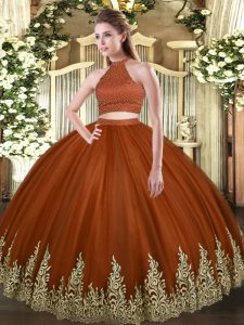 Decent Floor Length Backless Sweet 16 Dresses Rust Red for Military Ball and Sweet 16 and Quinceanera with Beading and Appliques