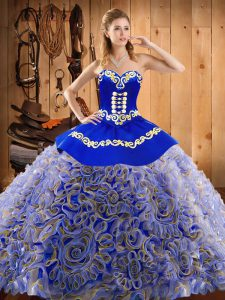 Multi-color Sweetheart Lace Up Embroidery Quinceanera Gowns Sweep Train Sleeveless