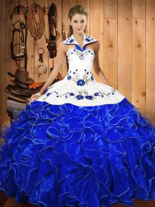 Vintage Blue And White Ball Gowns Embroidery and Ruffles Sweet 16 Quinceanera Dress Lace Up Satin and Organza Sleeveless Floor Length