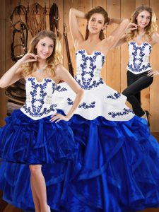 Lovely Sleeveless Floor Length Embroidery and Ruffles Lace Up Ball Gown Prom Dress with Blue