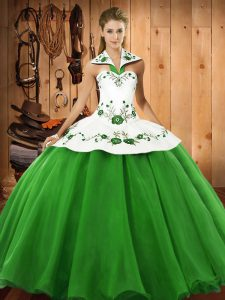 Hot Sale Green Satin and Tulle Lace Up Halter Top Sleeveless Floor Length Sweet 16 Quinceanera Dress Embroidery