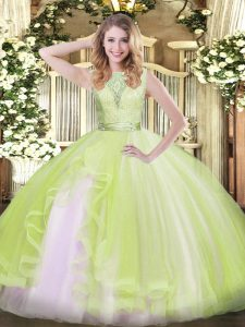 Great Yellow Green Backless Quinceanera Gowns Lace and Ruffles Sleeveless Floor Length