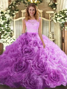 Hot Sale Lilac Sleeveless Lace Floor Length Sweet 16 Dresses