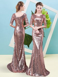 Comfortable Floor Length Zipper Prom Evening Gown Gold for Prom and Party with Sequins
