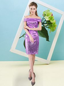 Lilac Sequined Zipper Prom Evening Gown Short Sleeves Mini Length Sequins