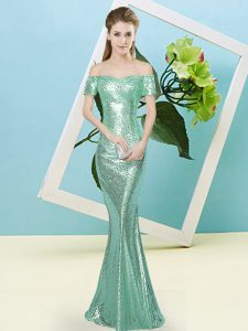 Sweet Apple Green Zipper Off The Shoulder Sequins Prom Dresses Sequined Short Sleeves